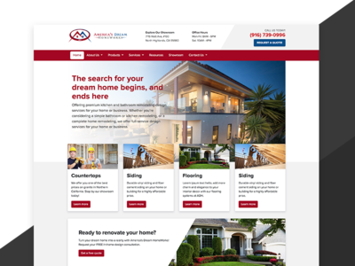 Homepage - America's Dream HomeWorks contractor home remodeling site ux ui desktop design website