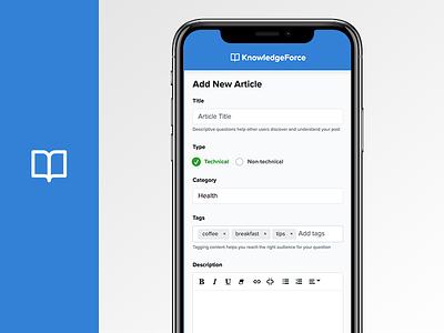Knowledge Sharing App - Knowledge base interface website blue ka knowledge app modern ux ui mobile