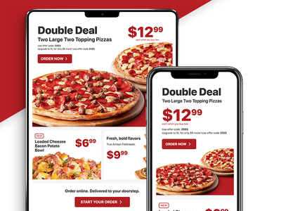 Pizza Promotional Newsletter ipad iphone mobile clean modern pizza info marketing newsletter news