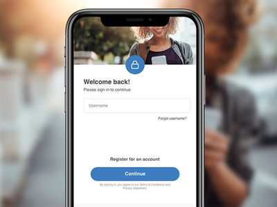 Login Screen interface blue minimal clean modern register website app ux ui mobile login