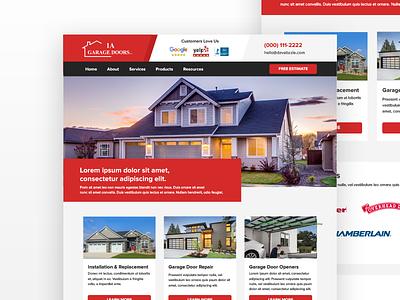 1A Garage Doors - Homepage responsive red modern mobile website ui ux web design services
