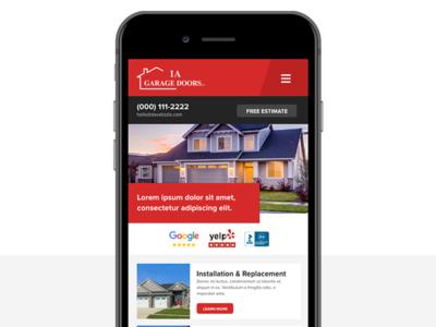 Mobile - 1A Garage Doors website ux ui services responsive red modern mobile design