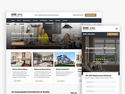 GVD Renovations Website adobe xd contractor home improvement brown blue mobile website ux ui proxima nova clean modern responsive gatsby desktop