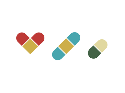 Heart Medica – Brand Icons green blue gold red brand icons medical pill band-aid heart