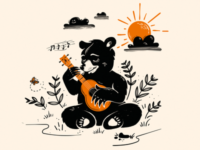 Bear playing  ukulele illustrator digital illustration digital art drawing illustration vector