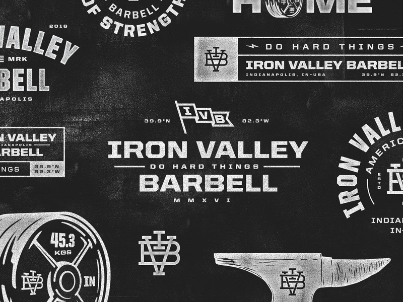 Iron Valley Barbell | Branding marks monogram indianapolis indiana indy gym illustration badge typography branding logo