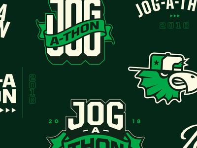 Jog-A-Thon | Artboard varsity branding logo race jog runner run hat banner eagle