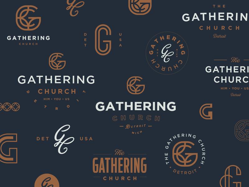 Gathering Church | Branding R2 indy lettering mark church branding monogram c g monoweight detroit church indianapolis script logo branding