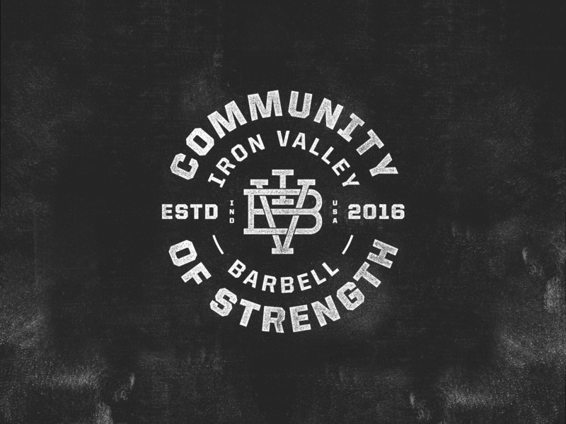 Iron Valley Barbell | Community of Strength gym typography indianapolis monogram mark badge logo
