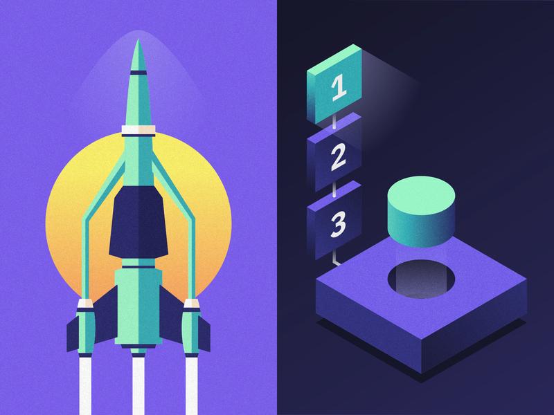 IBM | Launch Control vector illustration illustration liftoff bacon ibm plex ibm design ibm button timer space thrust planet moon rocket