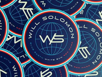 Will Solomon | Sticker red blue and white blue globe sun mars earth space planet branding stickermule sticker