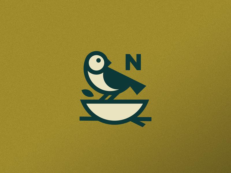 Nested tree leaf home bowl nested nest bird logo design branding logo