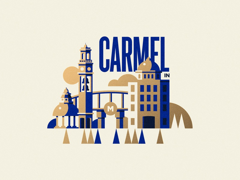 Carmel, Indiana midwest vector illustration monon center buildings trees sun indianapolis indiana