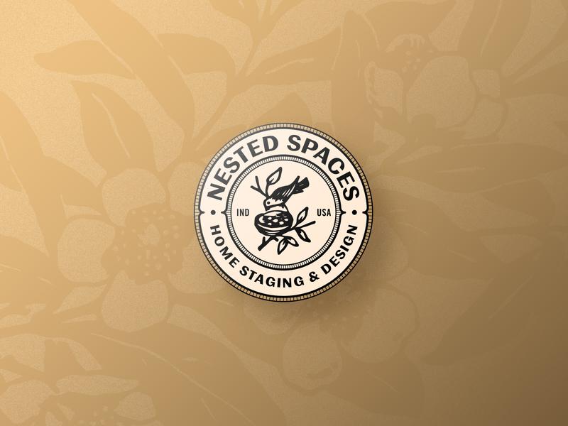 Nested Spaces | Badge home nest bird circle illustration badge branding logo