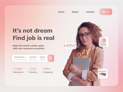 Landing Page Job Website website design ui glassmorsphism banner country company dream jobs