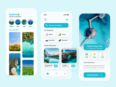Travel & Vacation app in Glassmorphism ecplore minimalist simple blue sunday forest mountain beach vacations travel vacation clean ui app glassmorphism
