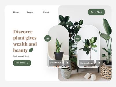 Plant Landing Page Website Concept clean branding web ux ui grow sell buy store landingpage tree minimalist aesthetic brown green plant