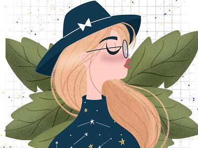 Starry Girl sweater leaves nerdglasses blonde blue hat fedora stars