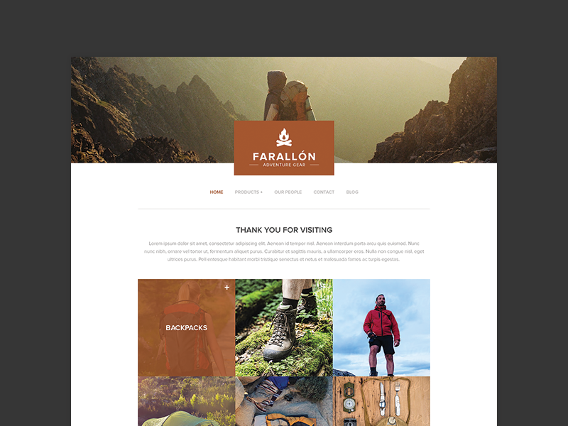 Outdoors Theme theme camping hiking outdoors clean template