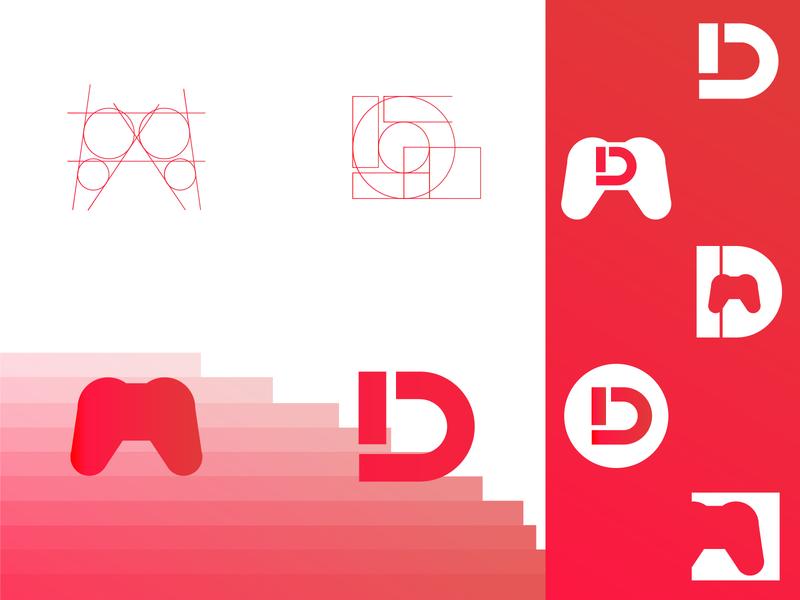 D-pad golden simple icon ui ux abstract lettermark logomark logo designer branding design creative logo mark logo design logo