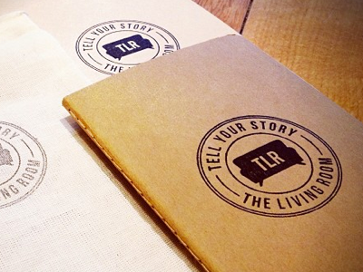 The Living Room Hand Stamped Moleskine  identity branding ink stamp cicle rubber stamp red rubber stamp engraved stamp maple stamp moleskine