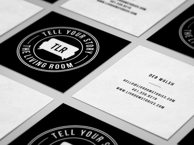 The Living Room Square Cards identity and business cards ink paper black and white branding