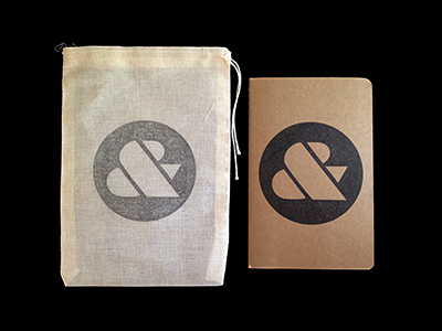 Ampersand Moleskine & Muslin Bag typography stamp wood ampersand ink moleskine muslin notebook lettering print kraft
