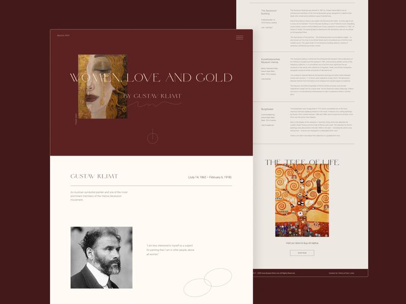 Website dedicated to Gustav Climt uidesign museum of art ui dark red minimalism landing page design webdesign website website design klimt artist