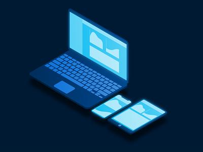 Responsive design on Isometric displays web illustration app vector ui art design responsive isometric tablet phone laptop illustrator