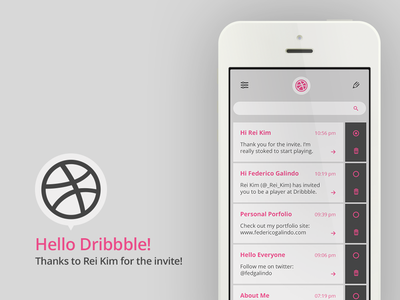 Hello Dribbble! ui debut dribbble inbox flat design minimal