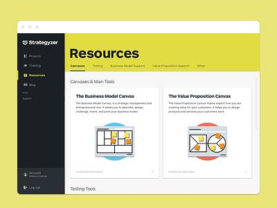 Strategyzer Platform - Resources Index ux dashboard platform tools ui