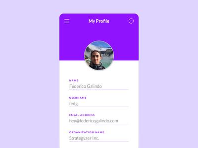 My Profile minimal settings account profile mobile ui