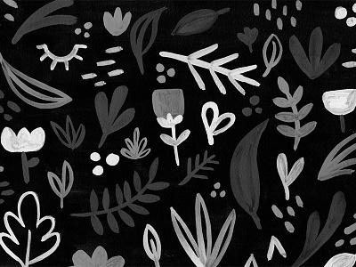 Greyscale floral illustration pattern