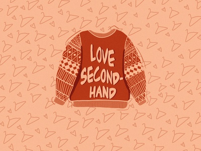 Love Second Hand! procreate sweater pullover secondhand thrift illustration