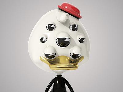 Duck cartoon character design theodoru 3d modo