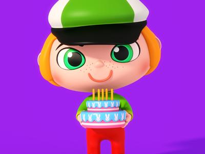 Birthday Boy texturing modelling modo theodoru character design kids cartoon
