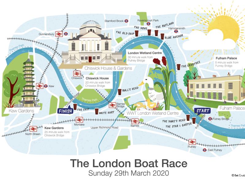 London Boat Race map