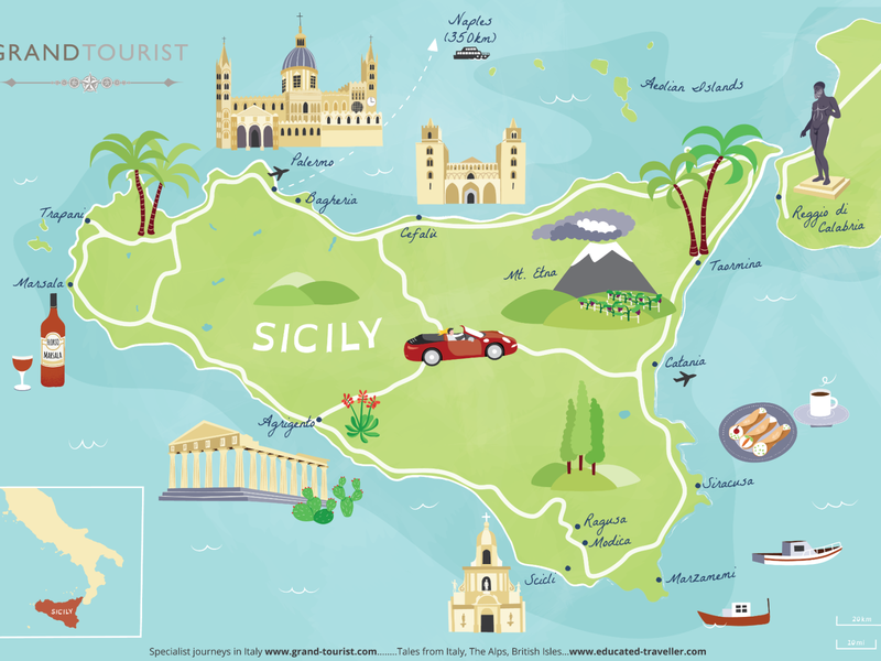 Tourist map of Sicily holiday map sicily italy visitor map map maps hand drawn tourist map illustrated map cartography