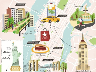 Illustrated New York city map