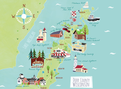 Door County Map for Lands End Clothing