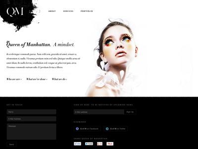 Q of M website draft monochrome makeup classy nyc manhattan website wordpress footer