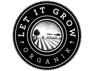 Let It Grow Organik, 1-color logo 1-color stamp emblem iron brand
