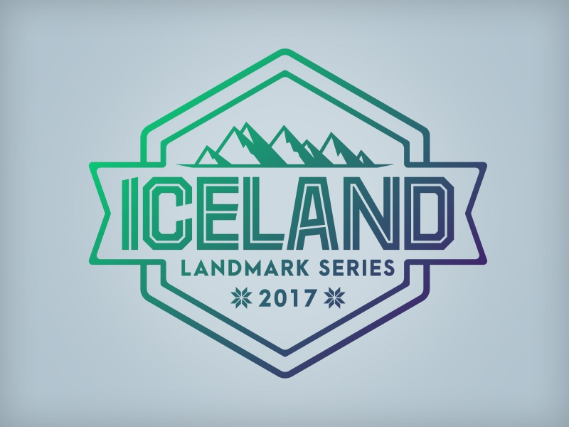 Iceland Landmark Series brand identity europe logo series landmark iceland badge illustrator