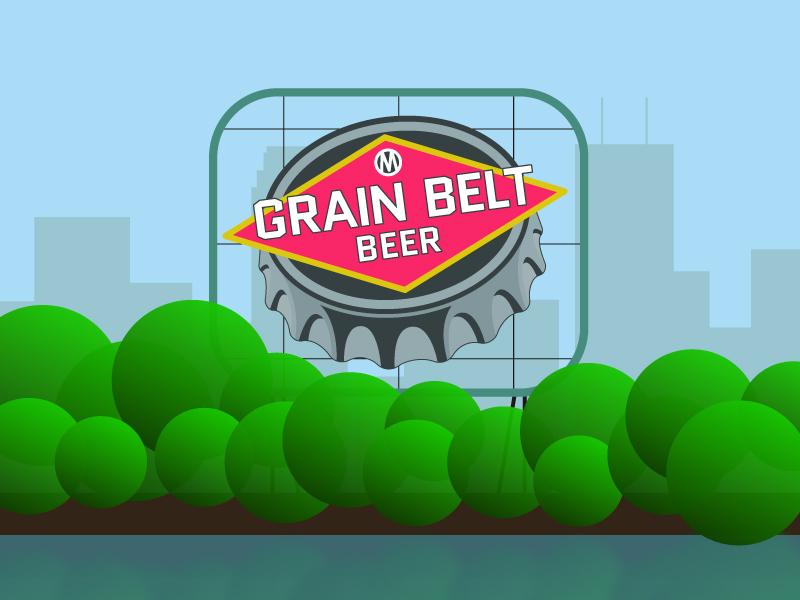Grain Belt By Day beer minnesota minneapolis landmark sign grain belt design illustration illustrator