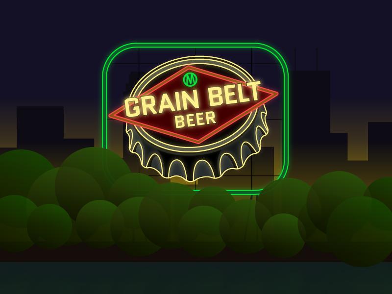 Grain Belt By Night minnesota minneapolis landmark beer grain belt sign design illustrator illustration