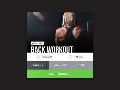 Day 008 - Fitness Card gym exercise minimal ux ui flat workout back sport clean widget interface