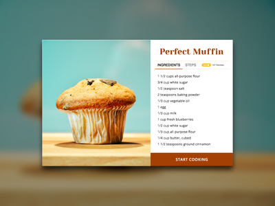 Day 009 - Recipe Card cup cake baked cake muffin ux ui recipe food interface flat widget