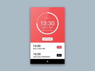 Day 013 - Alarm Clock simple circle interface skip minimal ux ui alarm app app alarm