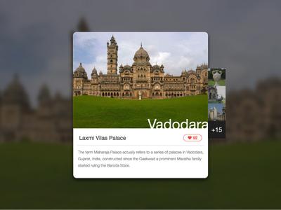 Day 014 - Location Card tourism gujarat palace city baroda vadodara widget about minimal ui