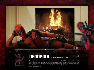 Day 016 - Video Player marvel trailer deadpool play movie media video audio player flat ui